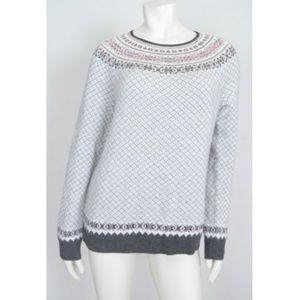 Talbots Fair Isle Nordic Sweater Lambswool Gray